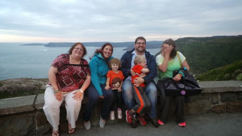 Best souvenir ever of a first day in Newfoundland.  This is my family together.  From left:  cousin Shell, Auntie Roxy, Lou, Uncle Drew, Boo, and Mumma (me).