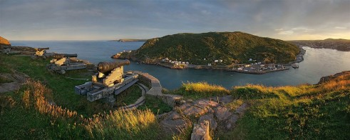 "Cannons overlooking St. John's harbour.  The only entrance to St. John's by water, the harbour is a narrow, defensible channel, known by locals as ""The Narrows."""