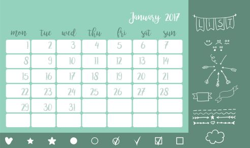 64109638 - bullet journal style desk calendar horizontal template 2017 for month january with elements. doodle arrows,smile,dividers,star,cloud and other. week starts monday