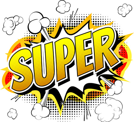 41293915 - super  comic book style word isolated on white background.